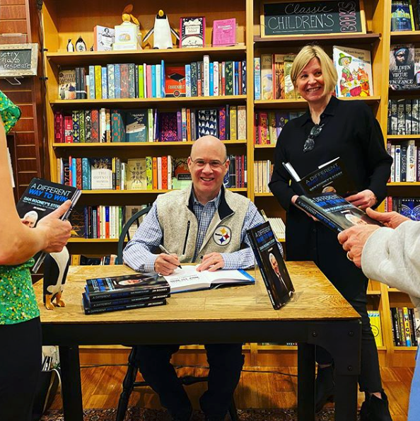 Jim Rooney visited the shop to sign copies of his new book, A Different Way to Win.